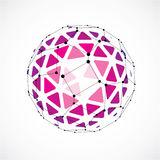 3d vector digital wireframe spherical object made. Using triangular facets. Geometric polygonal structure created with lines mesh. Low poly shape, purple Stock Image