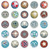 3d vector digital wireframe spherical objects made using differe. Nt geometric facets. Polygonal orbs created with lines mesh. Low poly shapes collection Royalty Free Stock Image