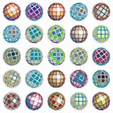 3d vector digital wireframe spherical objects made using differe. Nt geometric facets. Polygonal orbs created with lines mesh. Low poly shapes collection Stock Photo