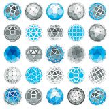 3d vector digital wireframe spherical objects made using differe. Nt geometric facets. Polygonal orbs created with lines mesh. Low poly shapes collection Stock Photography