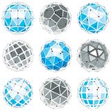 3d vector digital wireframe spherical objects made using differe. Nt geometric facets. Polygonal orbs created with lines mesh. Low poly shapes collection royalty free illustration