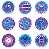 3d vector digital wireframe spherical objects made using differe. Nt geometric facets. Polygonal orbs created with lines mesh. Low poly shapes collection stock illustration