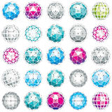 3d vector digital wireframe spherical objects made using differe. Nt geometric facets. Polygonal orbs created with lines mesh. Low poly shapes collection Royalty Free Stock Photos