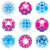 3d vector digital wireframe spherical objects made using differe Royalty Free Stock Photo