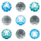 3d vector digital wireframe spherical objects made using differe. Nt geometric facets. Polygonal orbs created with lines mesh. Low poly shapes collection Royalty Free Stock Images