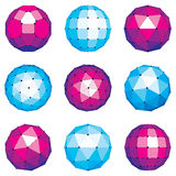 3d vector digital wireframe spherical objects made using differe. Nt geometric facets. Polygonal orbs created with lines mesh. Low poly shapes collection Royalty Free Stock Photo