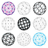 3d vector digital wireframe spherical objects made using differe. Nt geometric facets. Polygonal orbs created with lines mesh. Low poly shapes collection Royalty Free Stock Photography