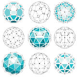 3d vector digital wireframe spherical objects  Stock Photo