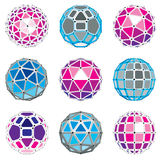 3d vector digital wireframe spherical objects Royalty Free Stock Image