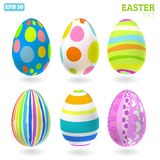 3D Vector easter eggs set with shadows. Easter set vector illustration
