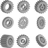 3D vector gears set Royalty Free Stock Photography