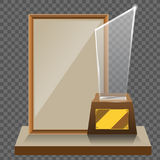 3d Vector glass star trophy with base and blank frame for copyspace front view  on white background. Vector. Illustration Stock Photos