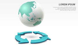 3D Vector globe with arrow circulation. 3D Vector illustration of globe with arrow circulation Royalty Free Stock Images