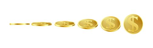 3D vector gold coins, sprite for animation Stock Image