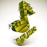 3d vector green demolished musical notes, music word. Dimensiona Stock Photography
