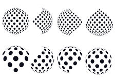 3D vector halftone spheres. Set of abstract backgrounds. Royalty Free Stock Photos