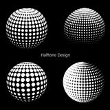 3D vector halftone spheres. Set of halftone vector backgrounds. Halftone design elements Stock Photos