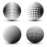 3D vector halftone spheres. Set of halftone vector backgrounds. Halftone design elements Stock Image
