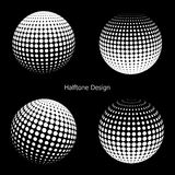 3D vector halftone spheres. Set of halftone vector backgrounds. Halftone design elements Royalty Free Stock Photo