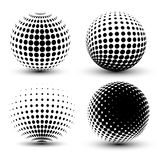 3D vector halftone spheres. Set of halftone vector backgrounds. Halftone design elements Royalty Free Stock Images