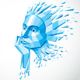 3d vector illustration of human head created in low poly style. Royalty Free Stock Image