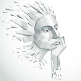 3d vector illustration of human head created in low poly style. Face of pensive female, smart personality. Intelligence allegory, artistic deformed object Stock Images