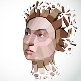 3d vector illustration of human head created in low poly style. Face of pensive female, smart personality. Intelligence allegory, artistic deformed object Royalty Free Stock Photography