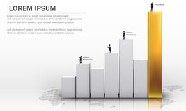 3D Vector illustration of metallic chart bars Stock Images