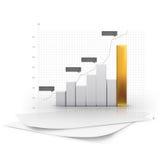 3D Vector illustration of metallic chart bars Stock Photos