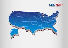 3D Vector Illustration of United States of America / USA Map with Royalty Free Stock Photography
