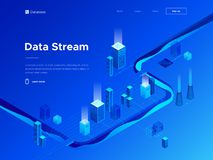 3d vector isometric illustration of big data analytics and technologies. Abstract city and flow of information. Creative. 3d vector isometric illustration of big stock illustration