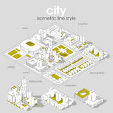 3d vector Isometric info graphic city streets with different buildings, houses, shops and skyscrapers. Line style Royalty Free Stock Image