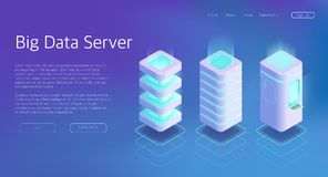 3d Vector Isometric Set of Big Data Center Server royalty free illustration