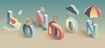 3d vector isometrische prentbriefkaar van Londen Stock Illustratie