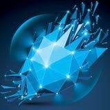 3d vector laag poly ingewikkeld voorwerp met fonkelingen en lens cir Stock Afbeelding