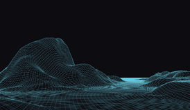 3D Vector landscape. Abstract digital landscape with particles dots and stars on horizon. Wireframe landscape background Royalty Free Stock Photos
