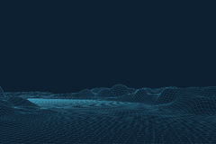 3D Vector landscape. Abstract digital landscape with particles dots and stars on horizon. Wireframe landscape background Royalty Free Stock Images