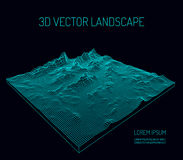 3D Vector landscape. Contour. Abstract digital landscape with particles dots and stars on horizon. Wireframe landscape background. Big Data. 3d futuristic stock illustration