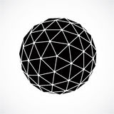 3d vector low poly black and white spherical object, perspective. Orb created with triangular facets. Abstract polygonal element for use as design structure on Royalty Free Stock Photos