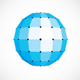 3d vector low poly blue spherical object, perspective orb create. D with square facets. Abstract polygonal element for use as design structure on communication Royalty Free Stock Photo