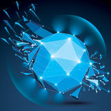 3d vector low poly complicated object with sparkles and lens cir Stock Photos