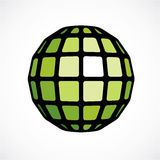 3d vector low poly green spherical object, perspective orb creat. Ed with square facets. Abstract polygonal element for use as design structure on communication Stock Images