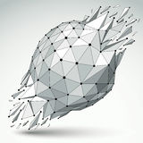 3d vector low poly object with black connected lines and dots, g. Eometric wireframe shape with refractions. Asymmetric perspective shattered form Stock Photo
