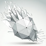 3d vector low poly object with black connected lines and dots, g. Eometric wireframe shape with refractions. Asymmetric perspective shattered grayscale form with vector illustration