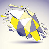 3d vector low poly object with black connected lines and dots, g. Eometric wireframe shape with refractions. Asymmetric perspective shattered form Stock Photos