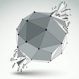 3d vector low poly object with black connected lines and dots. Geometric wireframe shape with refractions. Asymmetric perspective shattered form Royalty Free Stock Photography