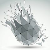 3d vector low poly object with black connected lines and dots, g. Eometric wireframe shape with refractions. Spherical perspective shattered form Stock Photography