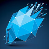 3d vector low poly object with blue connected lines and dots, ge Royalty Free Stock Photos