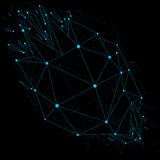 3d vector low poly object with blue connected lines and dots, ge Stock Images