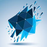 3d vector low poly object with connected black and white lines a. Nd dots, blue geometric wireframe shape with refractions. Asymmetric perspective shattered form vector illustration